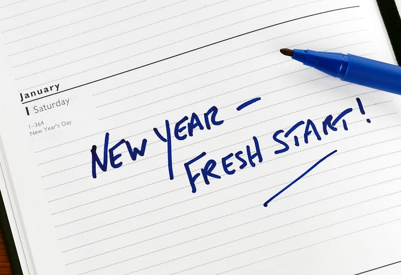 calendar with new year fresh start written